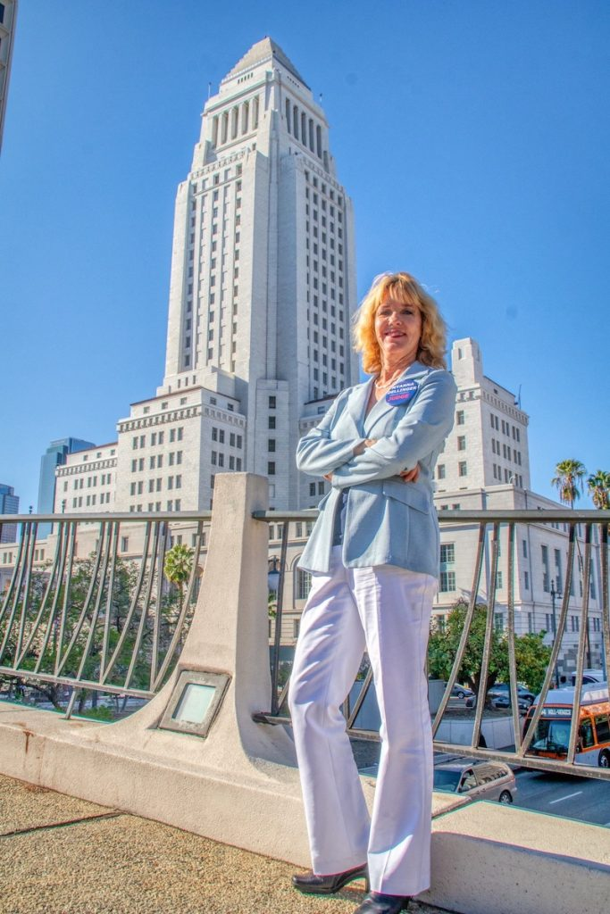 Professor Dellinger in front of the Los Angeles City Hall